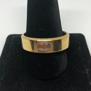 Stainless Steel Batman Gold Tone Band Ring